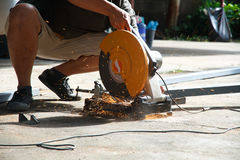 Worker cut steel Royalty Free Stock Images