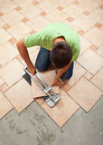 Worker cutting ceramic floor tile Stock Photography