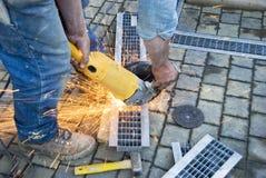 Worker cutting metal royalty free stock photos