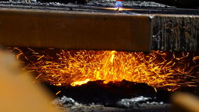 Worker Cutting Metal with a gas Flame torch in Metal melting industry stock video footage