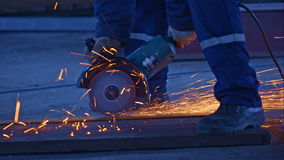 Worker cutting the metal stock video