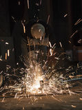 Worker cutting metal stock photo