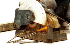 Worker cutting steel Stock Photo