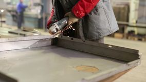 Worker Cutting Steel With Angle Grinder. Cutting Steel With Angle Grinder stock video footage