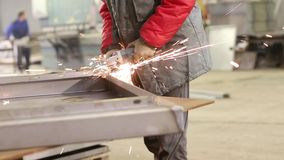 Worker Cutting Steel With Angle Grinder. Cutting Steel With Angle Grinder stock video
