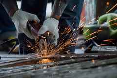 Worker are cutting steel Stock Photo