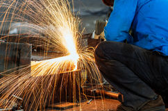 Worker cutting steel Royalty Free Stock Images