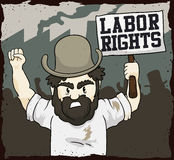 Worker Demanding Labor Rights in a Workers' Day, Vector Illustration Royalty Free Stock Image