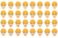 Worker with different emotions and facial expressions Stock Image