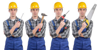 A worker with different tools Stock Image