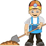 Worker digs pit. Building man shovel wearing helmet and dig ground Royalty Free Stock Image