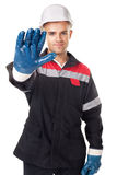 Worker doing stop symbol Stock Photography