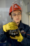 The worker is doing testing in laboratory Royalty Free Stock Photos