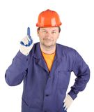 Worker draws attention. Stock Images