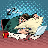 Worker dream workplace fatigue processing Stock Images