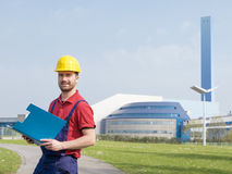 Worker dressed in safety overalls Royalty Free Stock Image