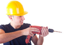 Worker with drill Stock Photos