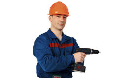 Worker with drill Stock Image