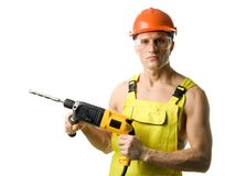 Worker with drill royalty free stock photo