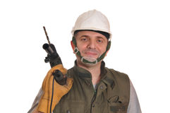 Worker with a drill Royalty Free Stock Photos