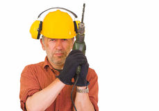 Worker with a drill Royalty Free Stock Photography