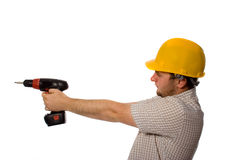 Worker with drill. Man holding drill on white Royalty Free Stock Photography
