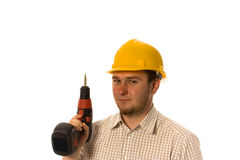 Worker with drill. Man holding drill on white Stock Photo