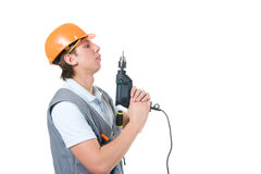 Worker with drill Stock Photography
