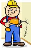 Worker with drill cartoon illustration Royalty Free Stock Images