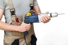 Worker with drill Royalty Free Stock Photography