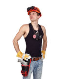 Worker with drill Stock Images