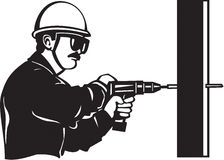 Worker Drilling. Line Art Illustration of a Worker Drilling vector illustration