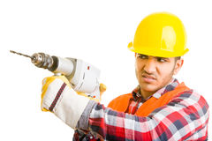 Worker drilling. Construction worker with drilling machine Royalty Free Stock Photo