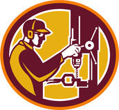 Worker Drilling Drill Press Retro Circle Stock Image