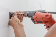 Worker drilling Royalty Free Stock Photo
