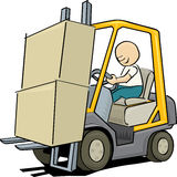 Worker driving a forklift Royalty Free Stock Photo