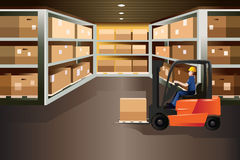 Worker driving a forklift. A vector illustration of worker driving a forklift in a warehouse Stock Image
