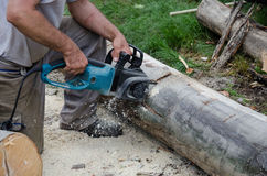 Worker with electric chainsaw. Worker who performs surgery with a electric chainsaw cutting stock photography