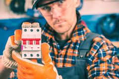 Worker with Electric Switcher Royalty Free Stock Photo