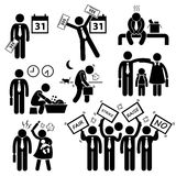 Worker Employee Income Salary Financial Problem Cliparts. A set of human pictogram representing an employee having ups and downs during his working life Royalty Free Stock Images
