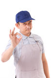 Worker, employer with ok hand gesture Stock Image