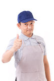 Worker, employer with thumb up hand gesture Stock Photo
