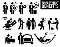 Worker Employment Job Benefits Clipart. Illustrations showing employment benefits of a worker. These are insurance protection, medical healthcare, travel Stock Photos