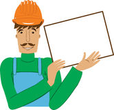 Worker with the empty board. Worker in the helmet with the white empty board Royalty Free Stock Photos