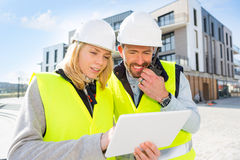 Worker and enginner checking last details before delivery Royalty Free Stock Photography