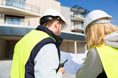 Worker and enginner checking last details before delivery Stock Photo