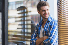 Worker enjoying fresh air from his office Royalty Free Stock Images
