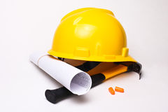 Worker equipment. On white background Stock Photos