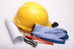 Worker equipment. Mixed worker equipment on white background Royalty Free Stock Photo