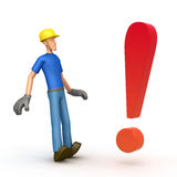 Worker with exclamation mark  Royalty Free Stock Photography